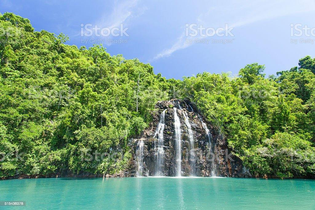Breathaking view of Kahatola Waterfall in Ternate. stock photo