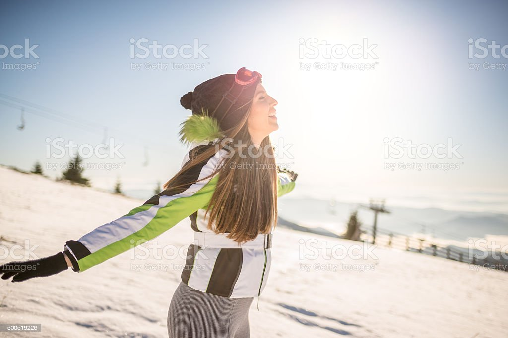 Breathing fresh air in winter stock photo