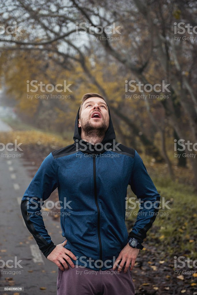 Breathing in the fresh air stock photo