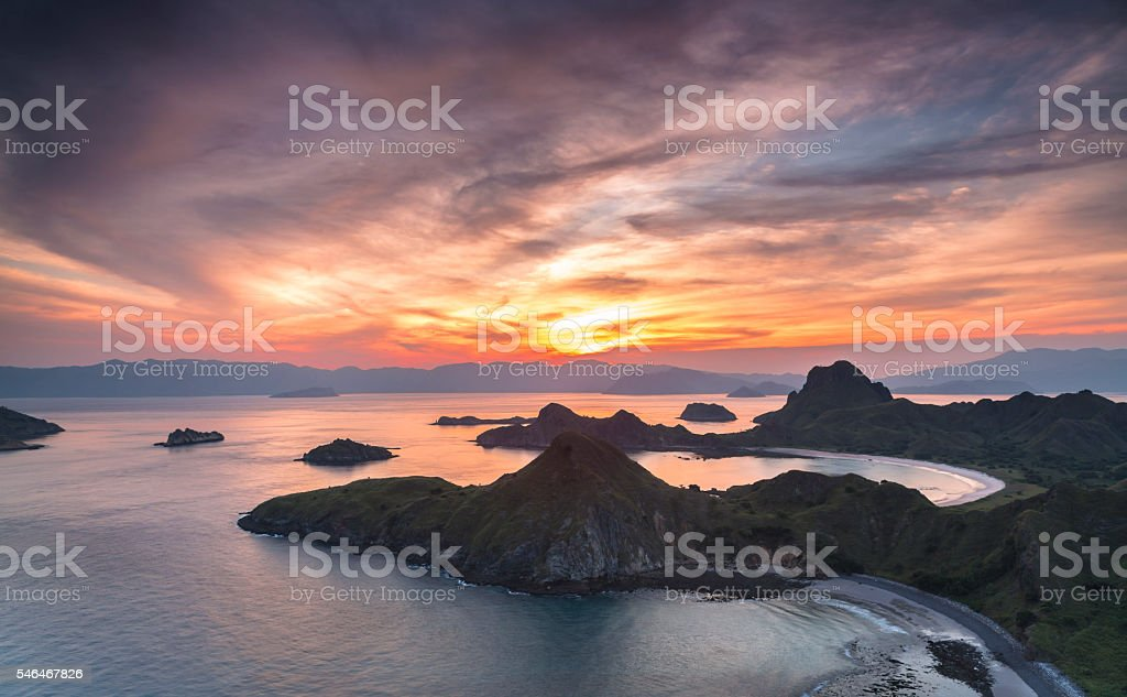 Breathtaking aerial sunset in Komodo National Park in Indonesia stock photo