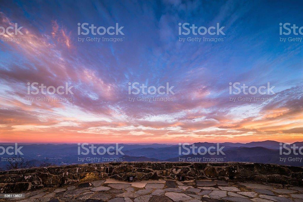 Breathtaking Blue Ridge Mountain Sunset 2 stock photo