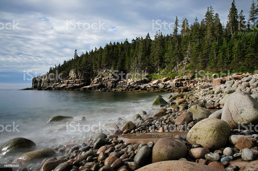 Breathtaking Coast of Maine in Acadia National Park stock photo