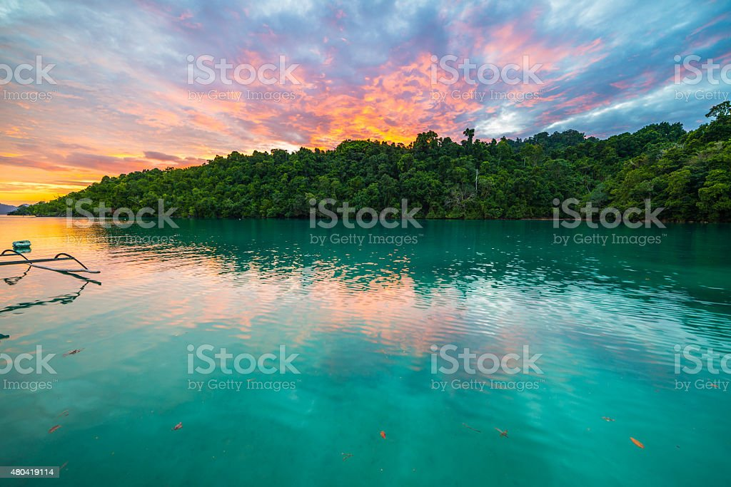 Breathtaking colorful sky at sunset in Indonesia stock photo