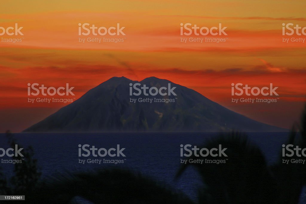Breathtaking colourful view of the Volcano island stromboli at sunset royalty-free stock photo