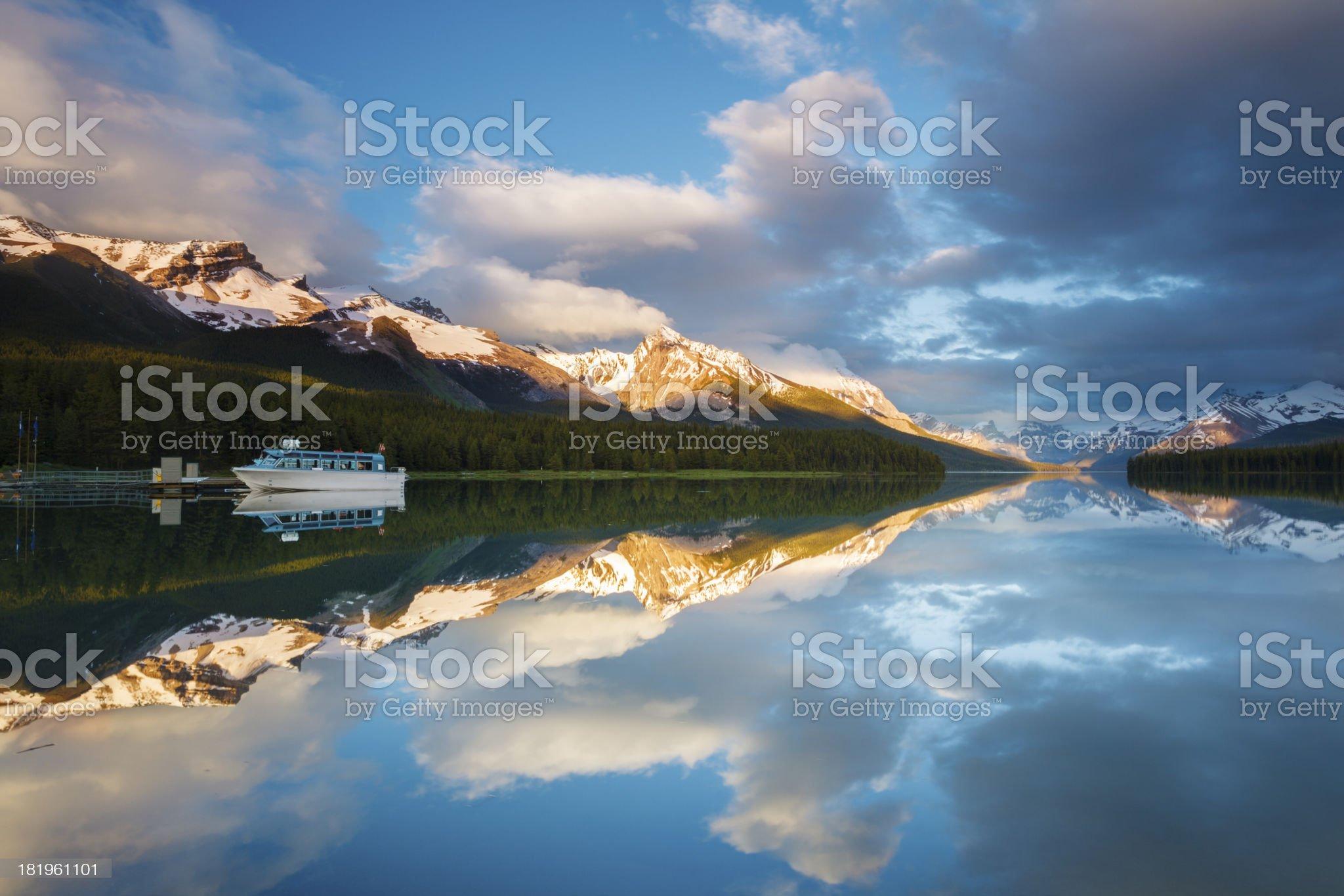 Breathtaking Maligne Lake Sunset royalty-free stock photo