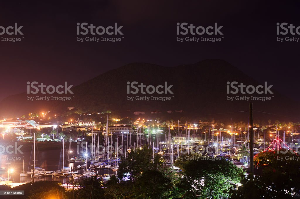 breathtaking night scene of marina stock photo