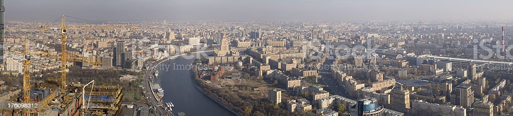 Breathtaking panorama view from skyscraper in Moscow City busine stock photo