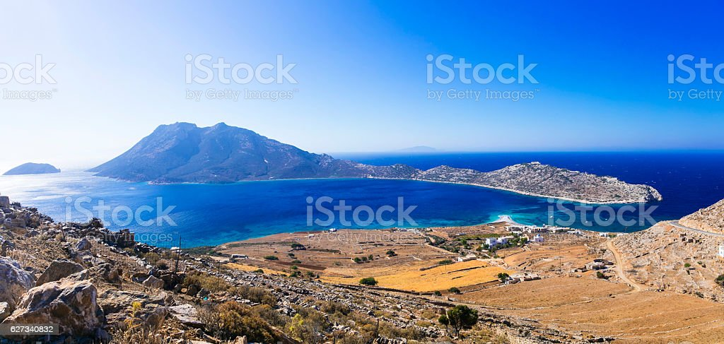 Breathtaking panoramic views in Amorgos island. Cyclades, Greece stock photo