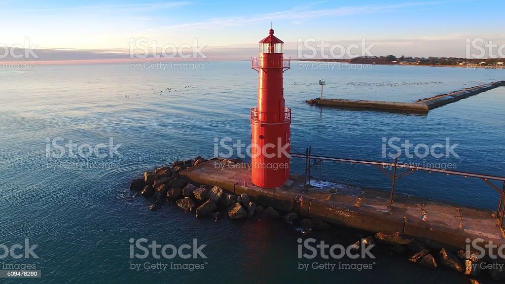 Breathtaking Red Lighthouse at Algoma, Wisconsin on Lake Michigan stock photo