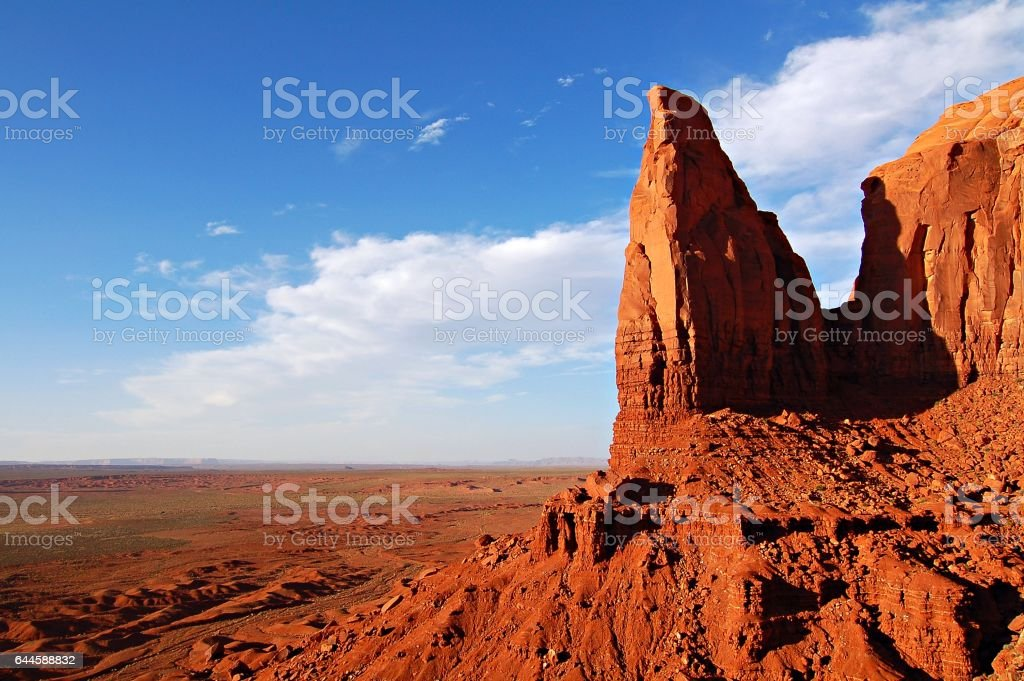 Breathtaking rock formation at the Monument Valley in the west of the USA stock photo