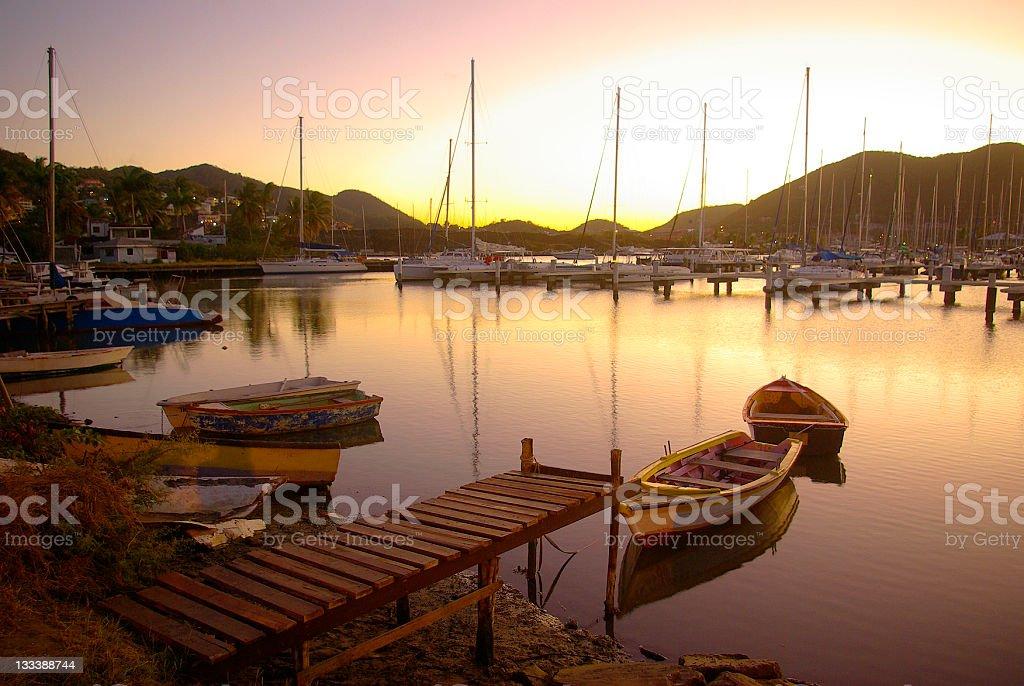 breathtaking Rodney Bay marina at sunset stock photo