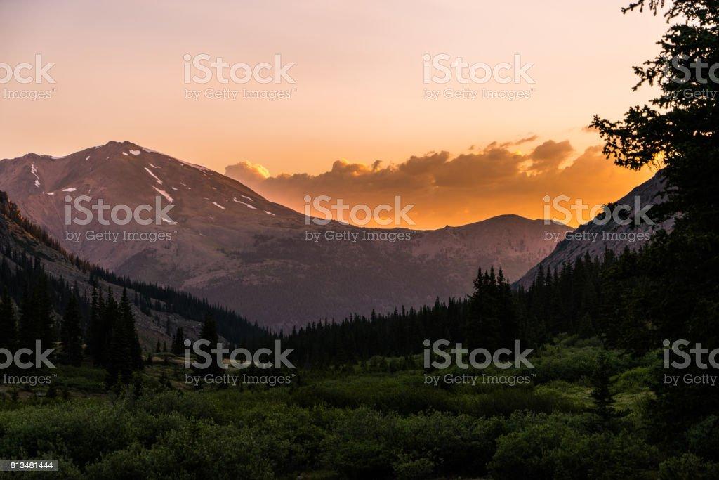 Breathtaking sunrise, Colorado Rocky Mountains.  Sawatch Range, near Leadville stock photo