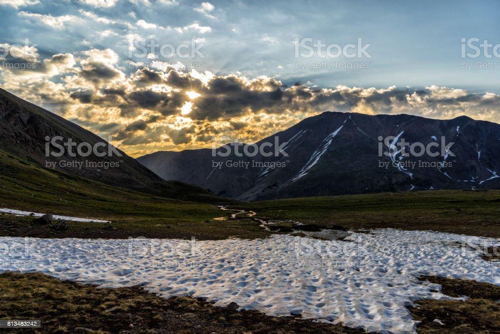 Breathtaking sunrise Colorado Rocky Mountains.  Sawatch Range, near Leadville stock photo