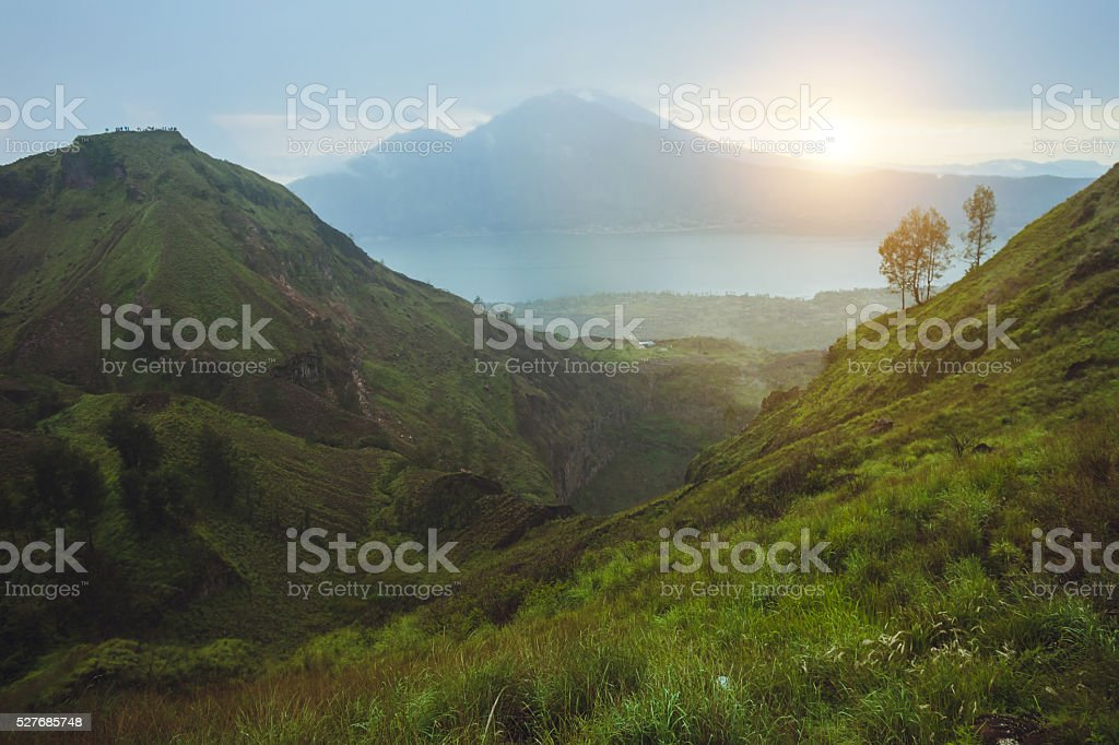 Breathtaking sunrise views on Batur volcano, Bali stock photo