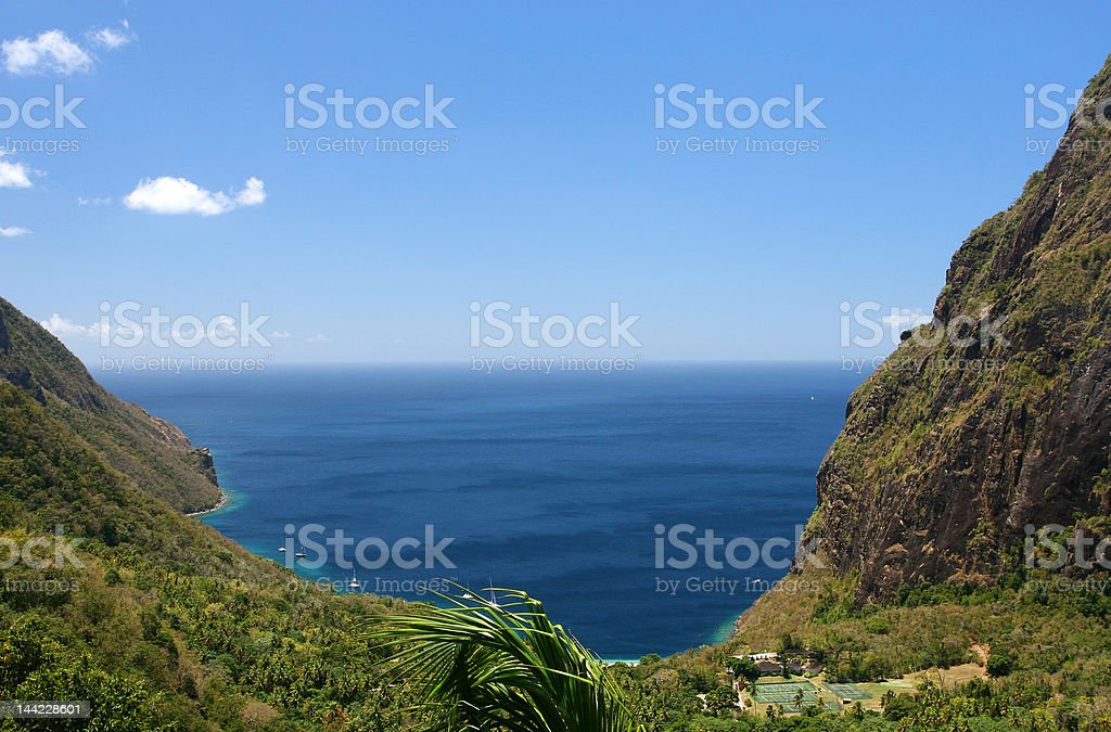 Breathtaking view between Pitons royalty-free stock photo