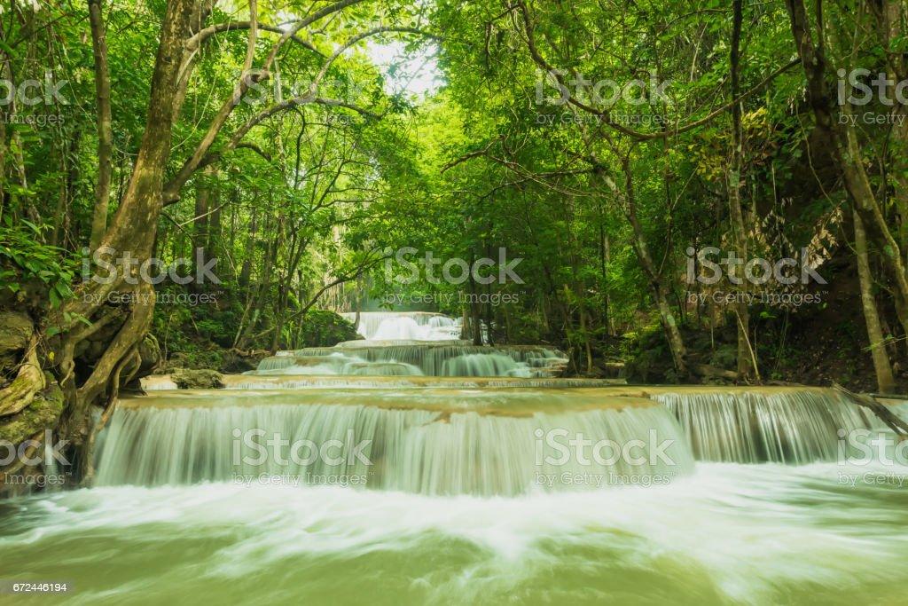 Breathtaking waterfall, Erawan waterfall stock photo