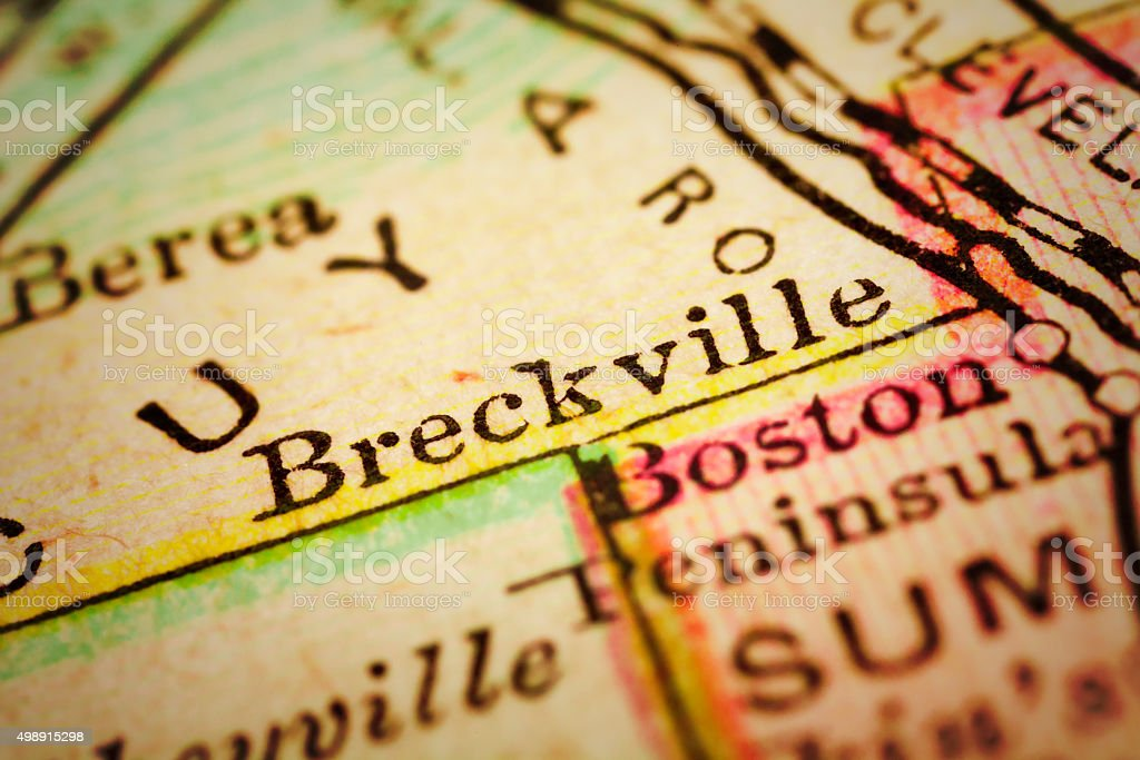 Brecksville, Ohio on an Antique map stock photo