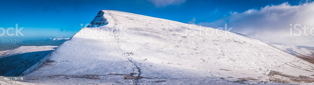 Brecon Beacons National Park Cribyn snowy summit winter panorama Wales stock photo