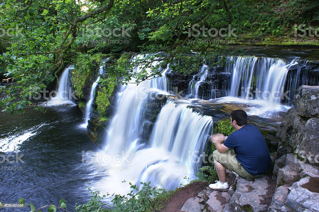 Brecon Beacons, Sgwd Isaf Clun-Gwyn 01 stock photo