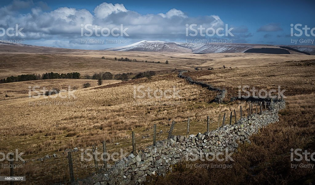 Brecon dry stone wall and fields stock photo