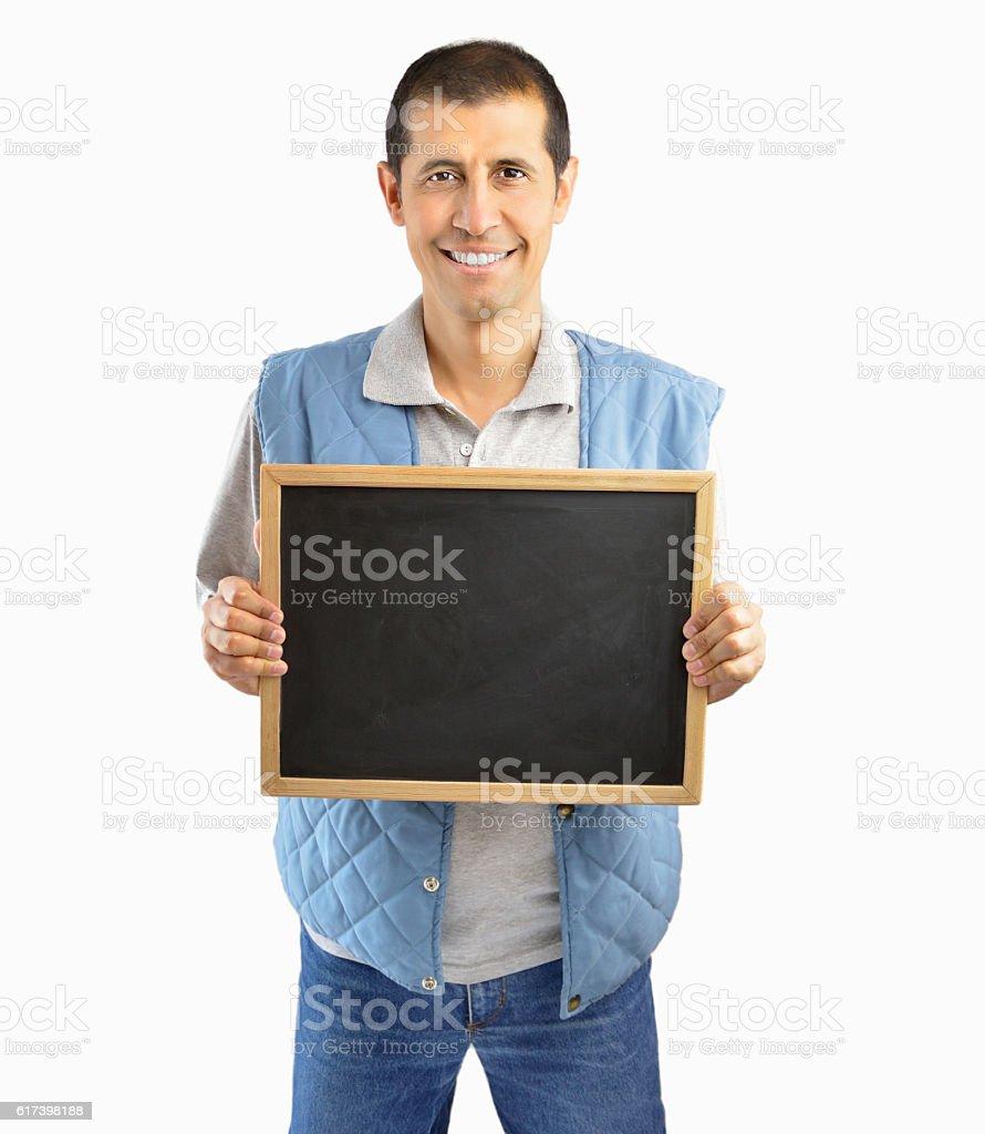 breeder showing the blackboard stock photo