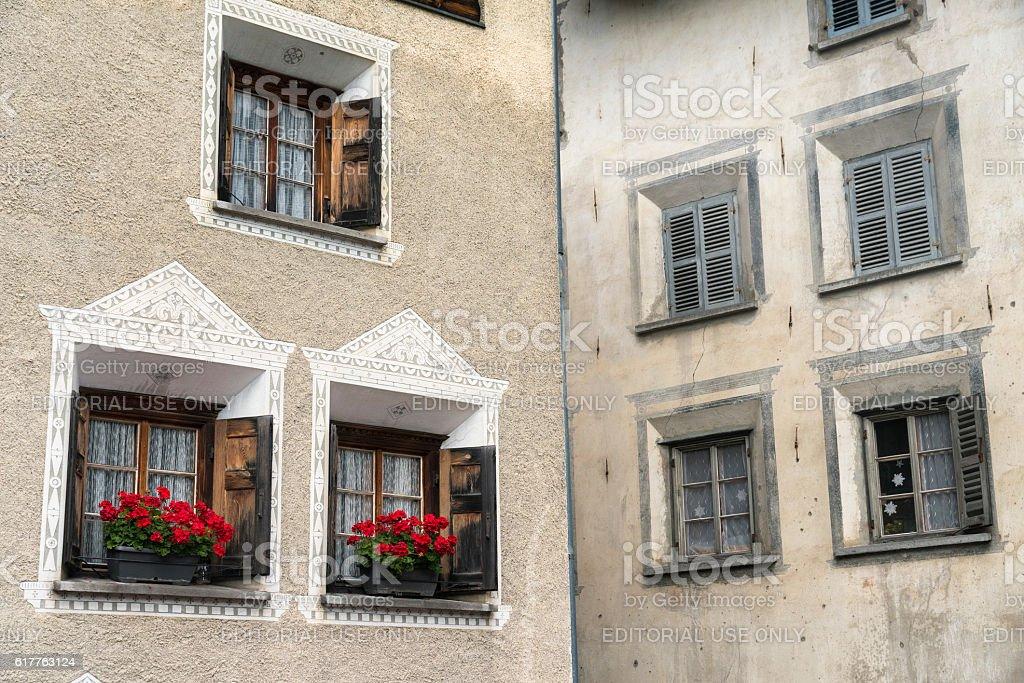 Bregaglia (Graubunden, Switzerland): old village stock photo