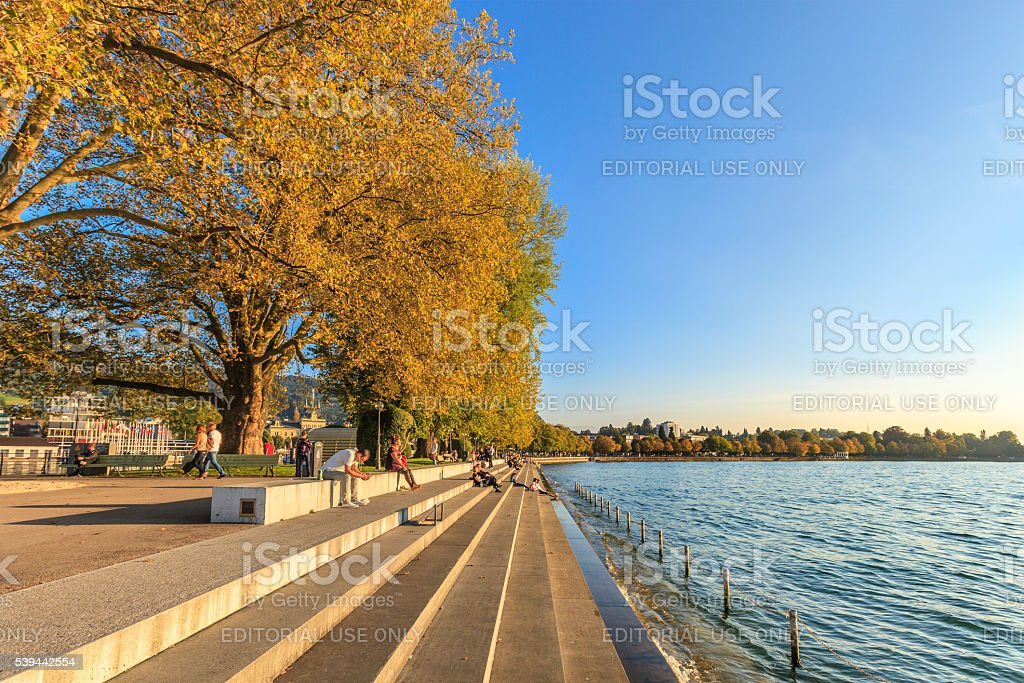 Bregenz, Promenade - Austria stock photo
