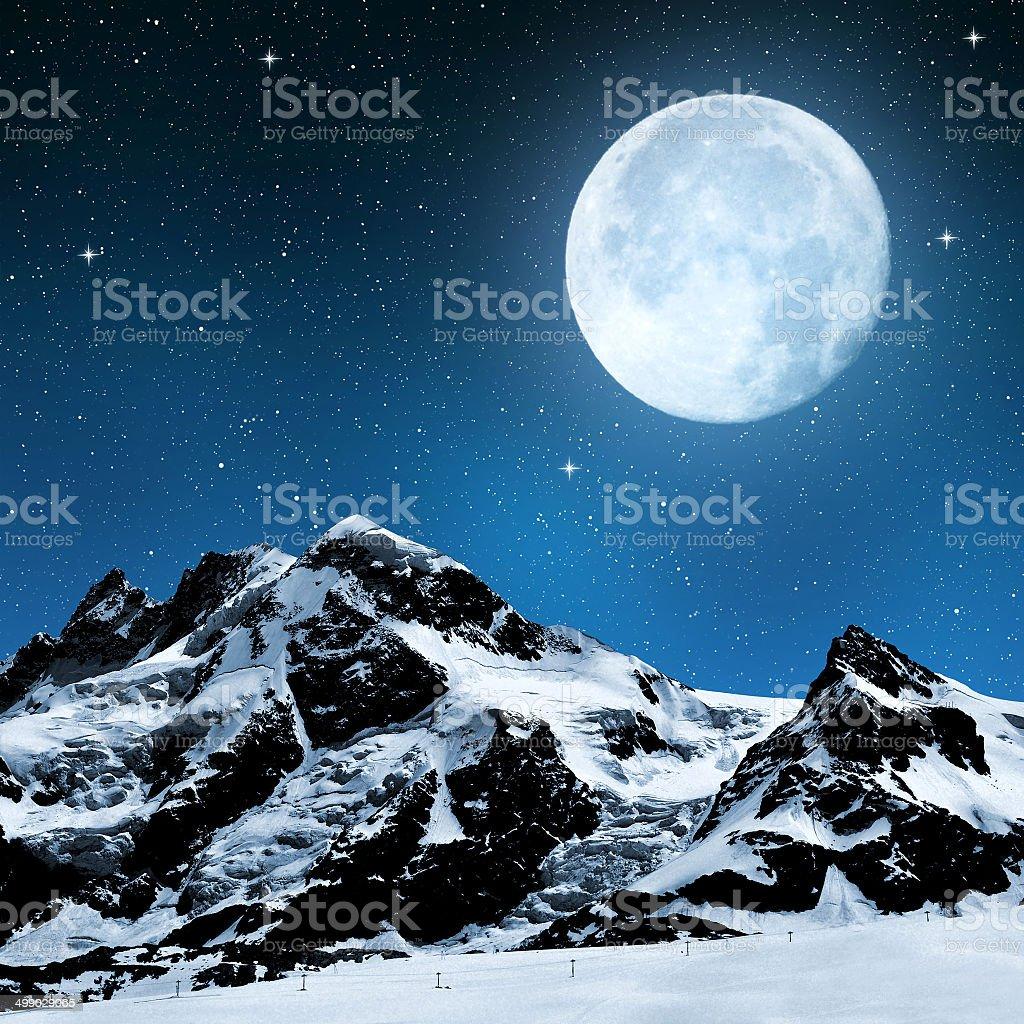 Breithorn and Klein Matterhorn stock photo