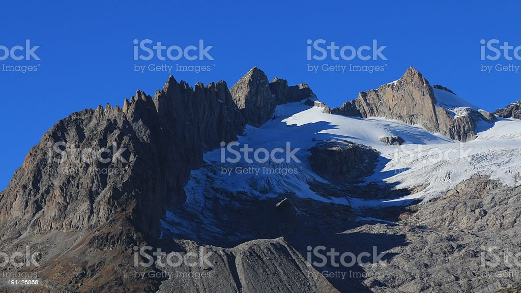 Breithorn, Schinhorn and other high mountains in Wallis Canton stock photo