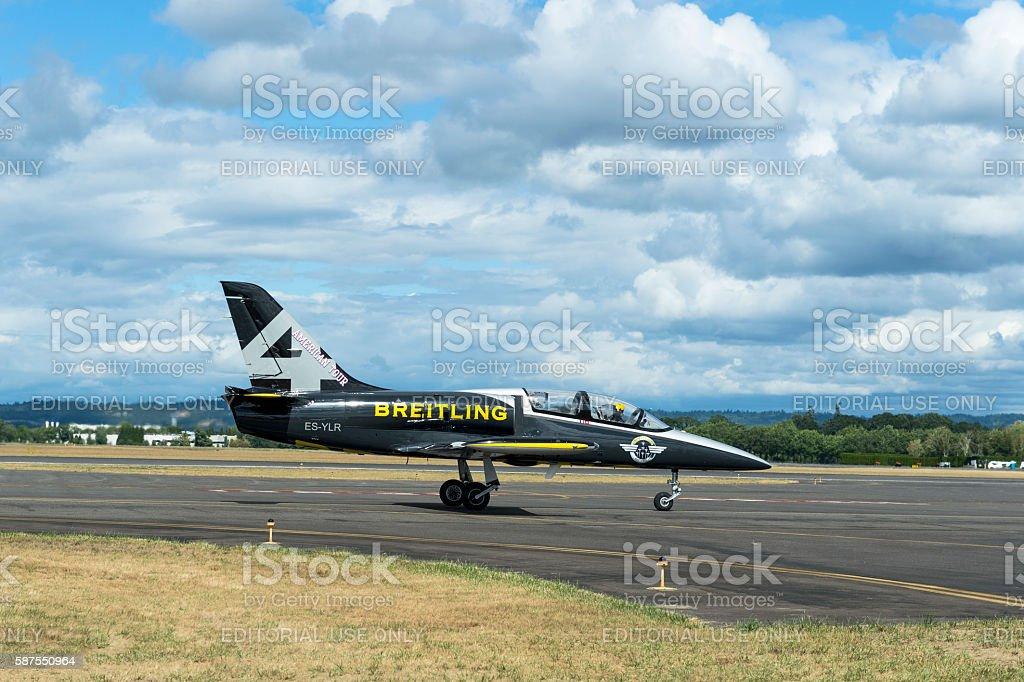 Breitling Jet Team Airplane Runway Air Show Hillsboro Oregon clouds stock photo