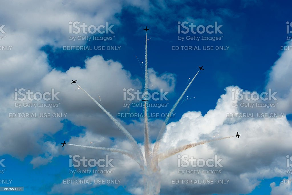 Breitling Jet Team Flying Air Show cloudy Fireworks Hillsboro Oregon stock photo