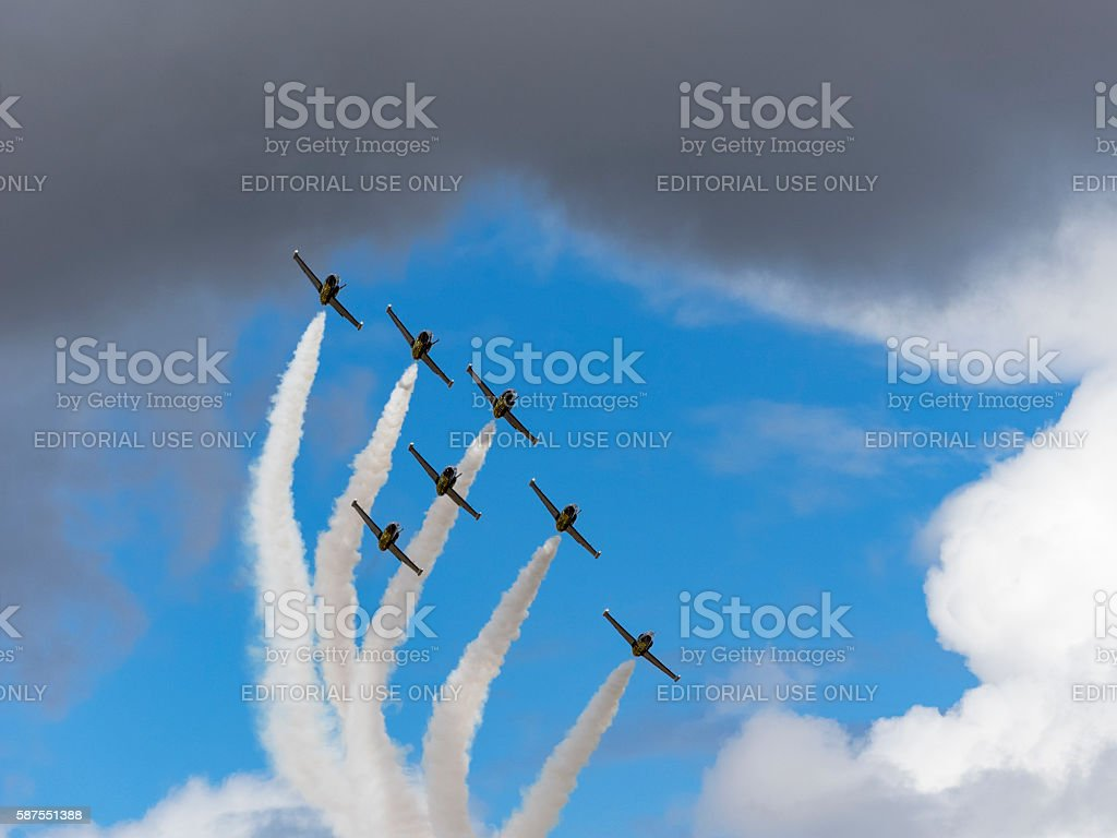 Breitling Jet Team Flying Air Show cloudy sky Hillsboro Oregon stock photo