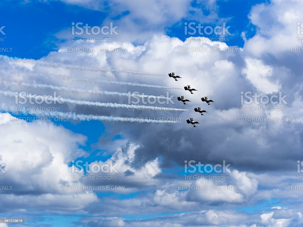 Breitling Jet Team Flying Air Show Hillsboro Oregon cloudy sky stock photo