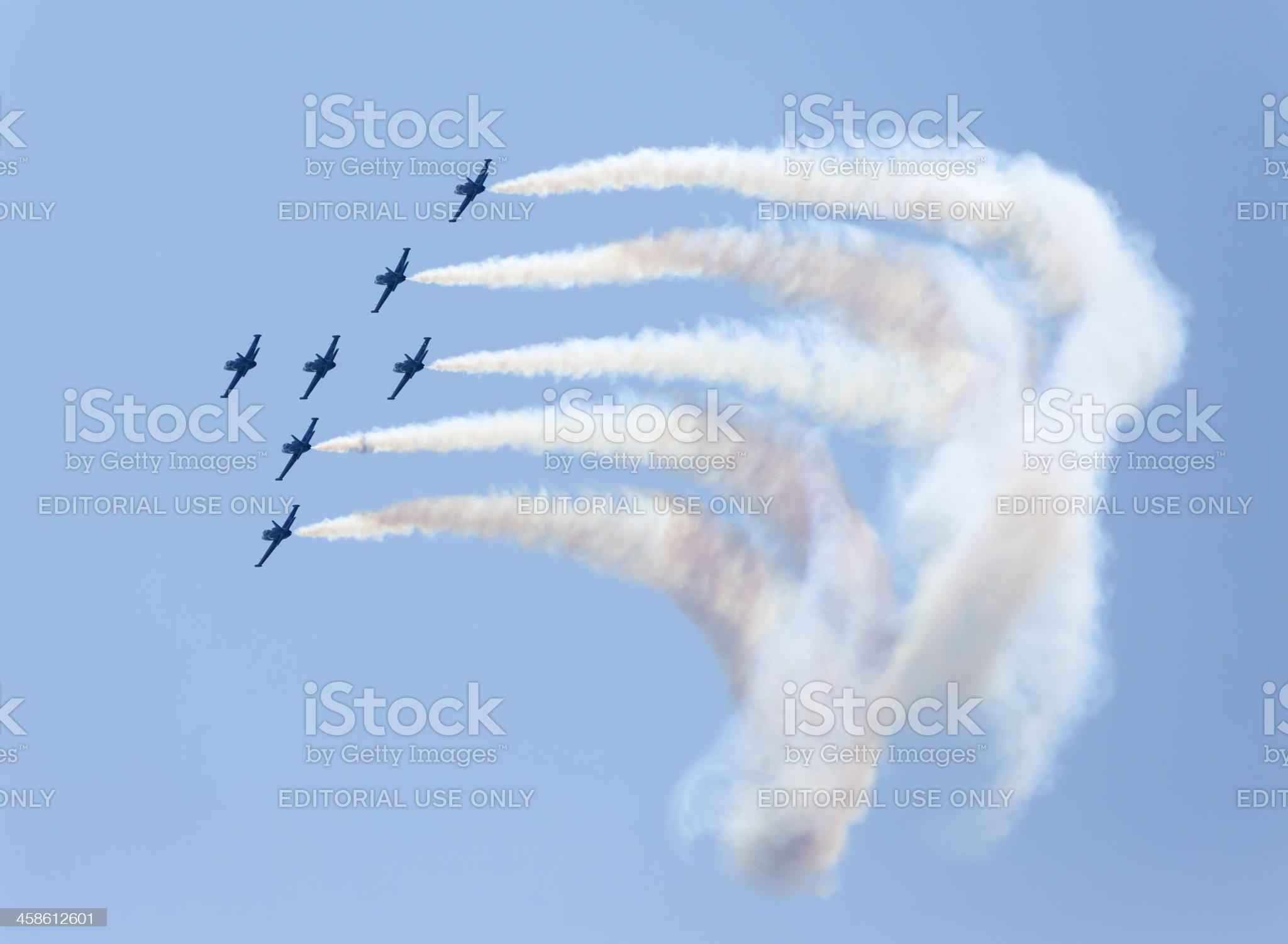 Breitling Jet Team making vapor trails, Roma International Air Show royalty-free stock photo