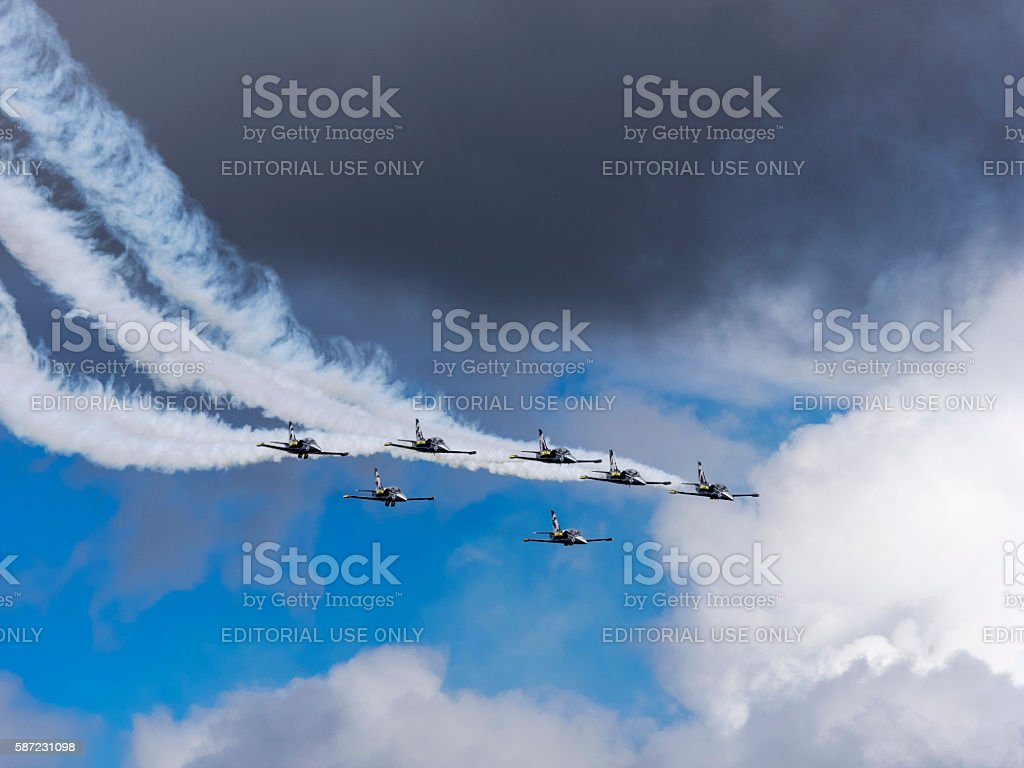 Breitling Jet Team Smoke Trail clouds Air Show Hillsboro Oregon stock photo