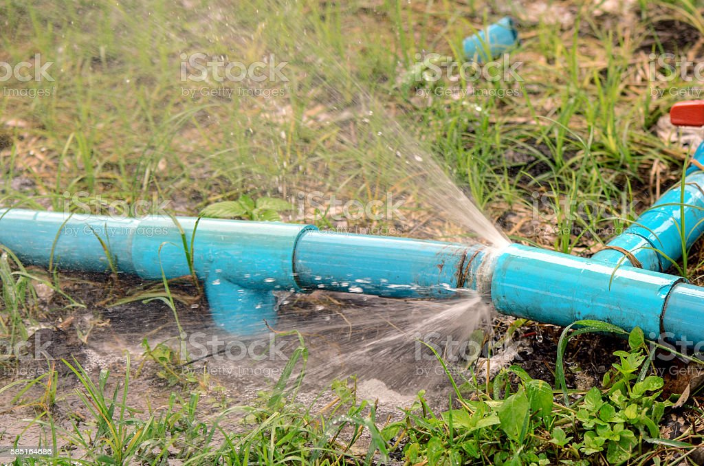 Breken pipeline with leakage water. stock photo