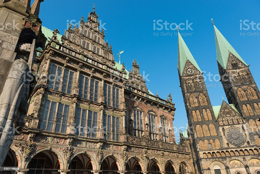 Bremen City Hall and Cathedral stock photo