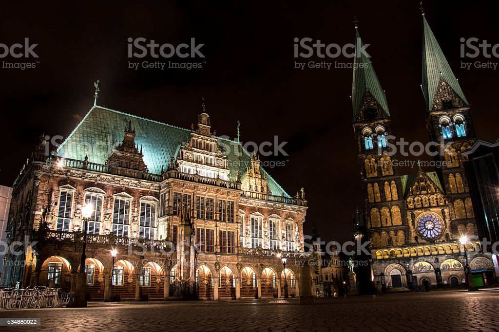 Bremen town hall (city hall) and the cathedral  Bremen (St.-Petri-Dom) stock photo
