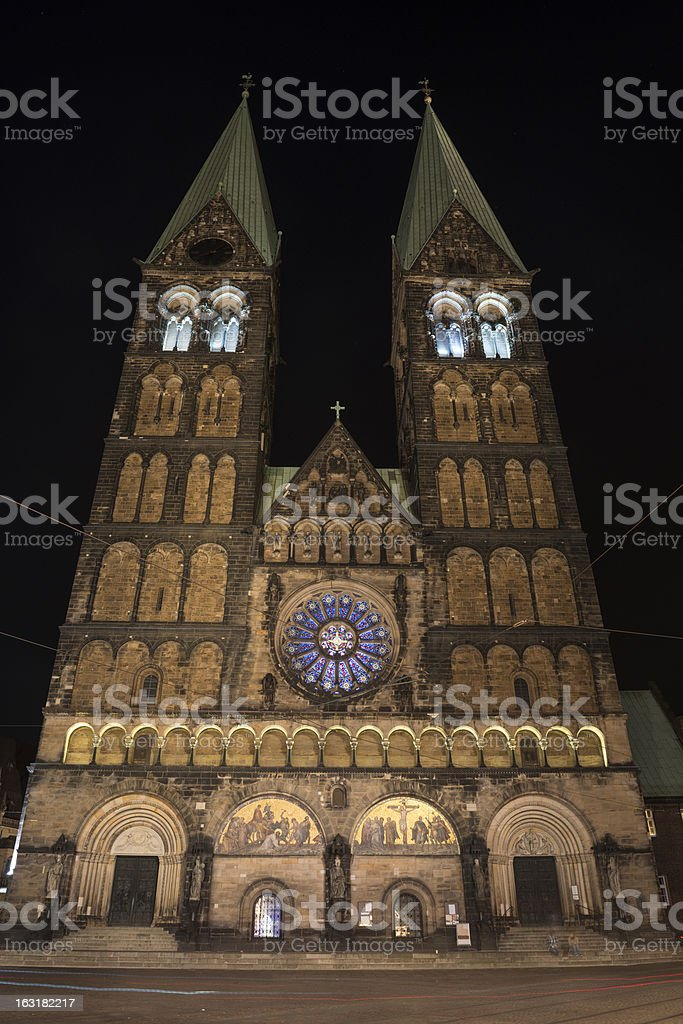 Bremer Dom at night stock photo