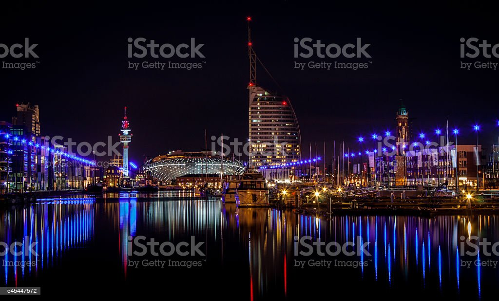 Bremerhaven at night, Bremen, Germany stock photo
