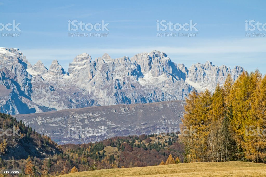 Brenta view from  Monte Bondone stock photo