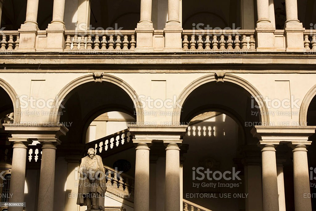 Brera courtyard in the centre of Milan, Italy stock photo