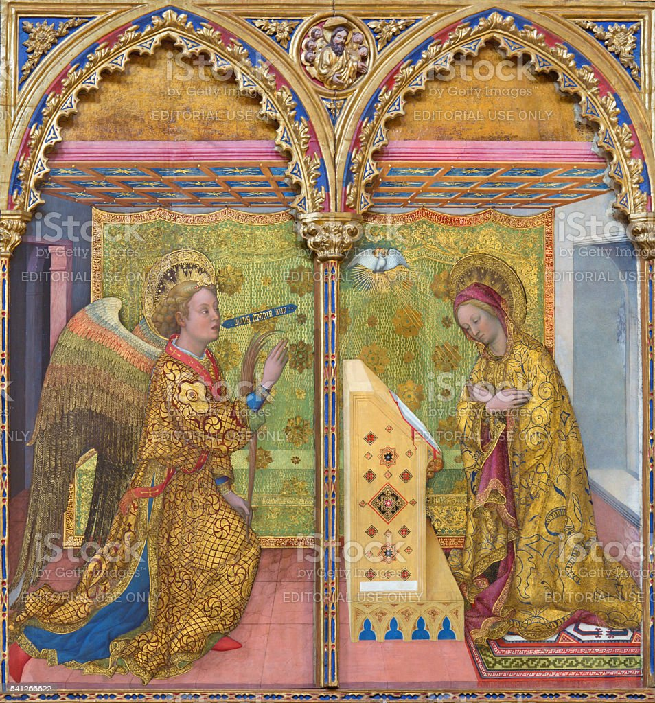 Brescia - Annunciation paint on the wood by Jacopo Bellini stock photo