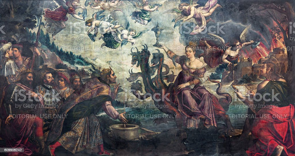 Brescia - Apocalyptic vision The courtesan Babylon sitting on dragon stock photo