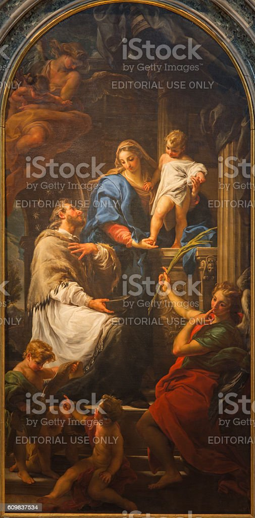 Brescia -  Madonna with Child and St. John the Nepomuk stock photo