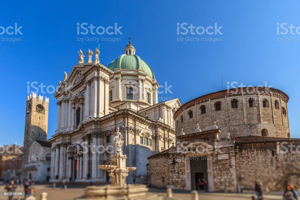 Brescia, Old and New Cathedrals - Italy stock photo