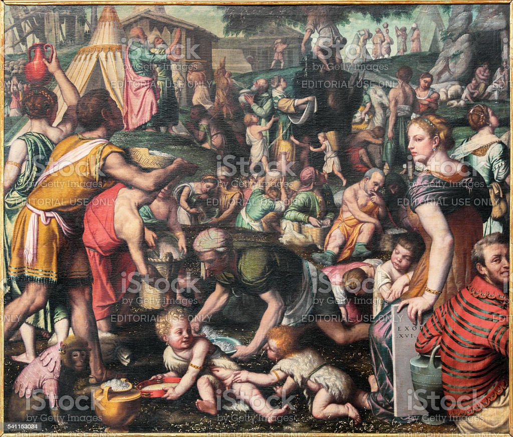 Brescia - painting of Gathering the Manna in the Desert stock photo