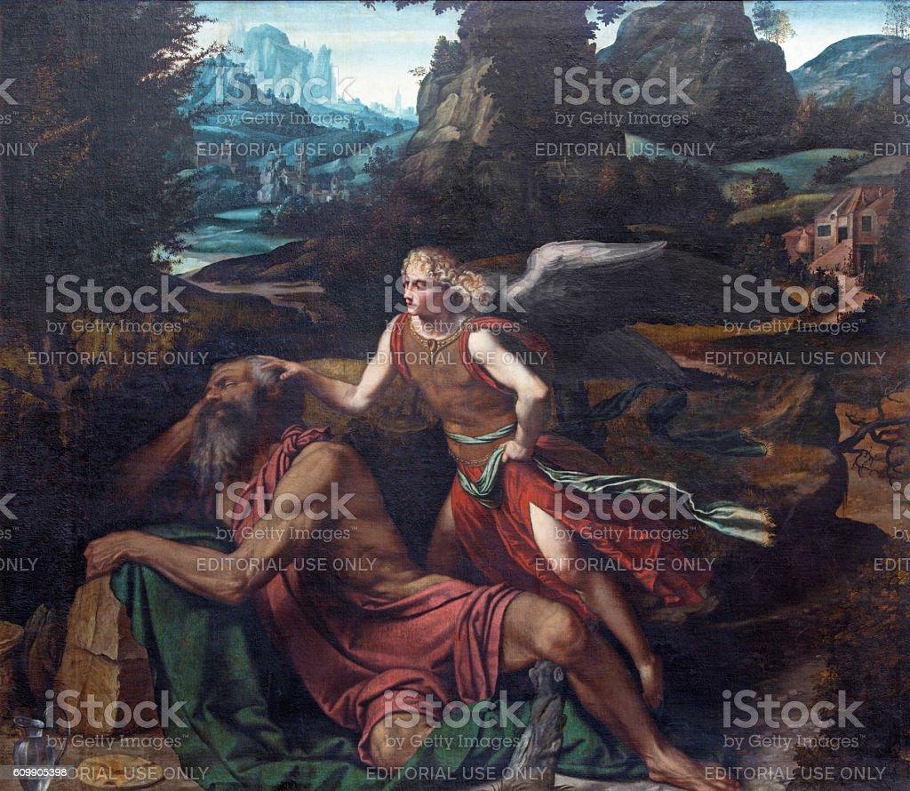 Brescia - Prophet Elijah Receiving Bread and Water stock photo