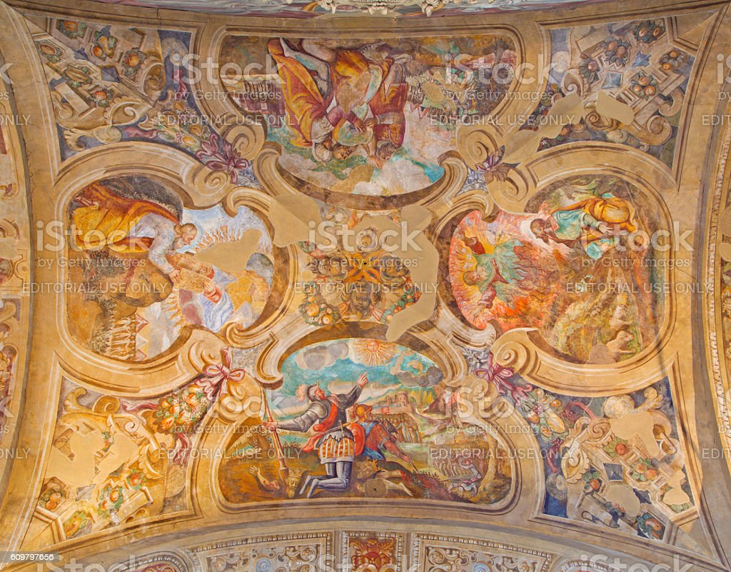 Brescia - The ceiling frescoes from life of Moses stock photo