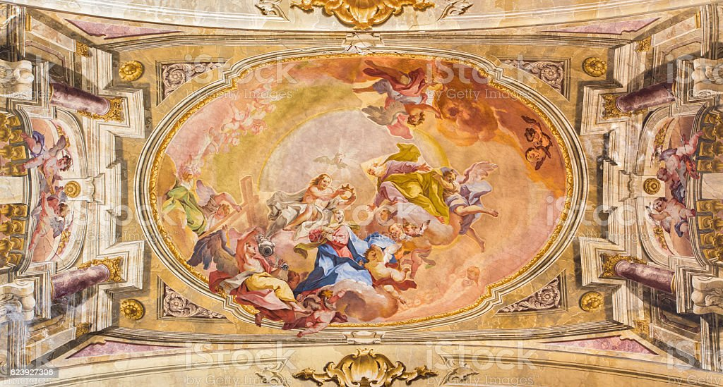Brescia - The Coronation of Virgin Mary fresco stock photo